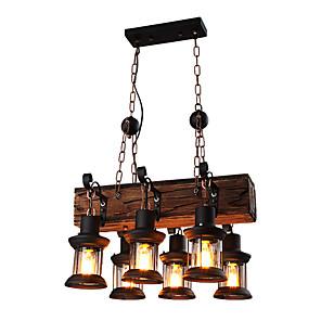 cheap Pendant Lights-6-Light 30 cm Mini Style Pendant Light Metal Industrial Wood Artistic / Retro 110-120V / 220-240V