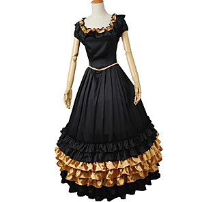 cheap Lolita Dresses-Rococo Victorian Costume Women's Outfits Golden+Black Vintage Cosplay Elastic Satin Short Sleeve Puff / Balloon Sleeve Ball Gown