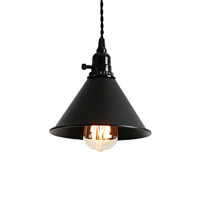 cheap Indoor Wall Lights-1-Light Vintage Loft Black Metal Shade Pendant Lights With Switch Dining Room Entry Hallway Cafe Mini Light Fixture