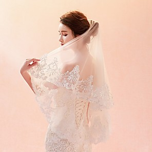 cheap Wedding Veils-One-tier Lace Applique Edge / Veil Wedding Veil Elbow Veils / Fingertip Veils with Pattern Lace / Tulle / Oval