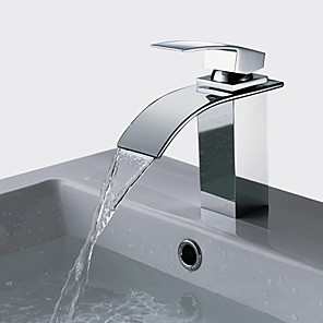 cheap Bathroom Sink Faucets-Stainless Steel Waterfall Bathtub Faucet/Bathroom Sink Faucet Chrome Vessel Single Handle One HoleBath Taps