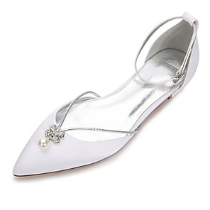 cheap Party Sashes-Women's Wedding Shoes Plus Size Flat Heel Comfort D'Orsay & Two-Piece Wedding Party & Evening Rhinestone Crystal Bowknot Solid Colored Satin Summer White / Ivory / Buckle / EU40