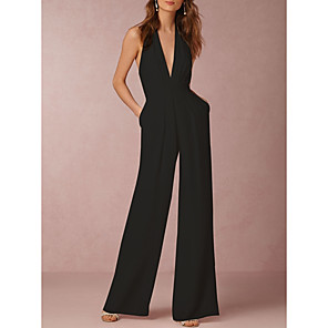 cheap Women's Sandals-Women's Sexy Daily Halter Neck Wide Leg Black Red Wine Jumpsuit Solid Colored Backless