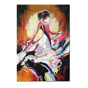 cheap Floral/Botanical Paintings-Oil Painting Hand Painted - Abstract People Comtemporary Modern Stretched Canvas