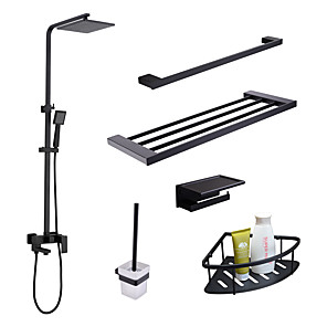 cheap Faucet Sets-Faucet Set - Rain Shower / Widespread / Handshower Included Black Wall Installation Single Handle Three HolesBath Taps