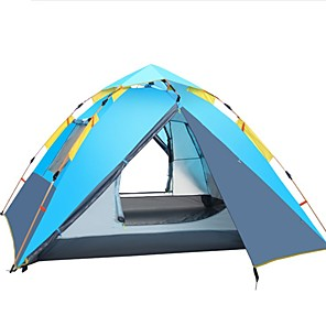 cheap Tents, Canopies & Shelters-Shamocamel® 4 person Automatic Tent Outdoor Windproof Rain Waterproof Double Layered Automatic Dome Camping Tent 2000-3000 mm for Fishing Picnic Oxford cloth 215*215*155 cm