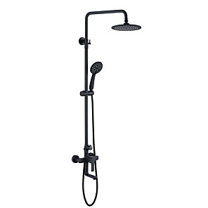 cheap Shower Faucets-Simple Black Vintage Shower Faucet - Contemporary Painted Finishes Shower System Ceramic Valve Bath Shower Mixer Taps / Brass / Two Handles Three Holes
