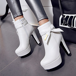 cheap Women's Boots-Women's Boots Plus Size Platform Chunky Heel Round Toe Fashion Boots Bootie Dress Bowknot Sequin Zipper PU Booties / Ankle Boots Winter White / Black / Pink