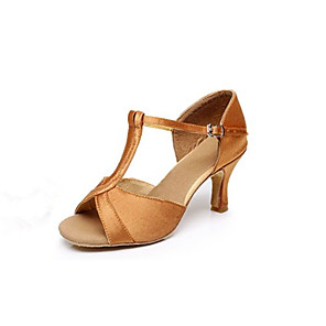 cheap Wedding Shoes-Women's Dance Shoes Satin Latin Shoes / Salsa Shoes Buckle Sandal Customized Heel Customizable Brown / Gold / Fuchsia / Indoor