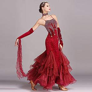 cheap Ballroom Dancewear-Ballroom Dance Dress Crystals / Rhinestones Women's Training Performance Sleeveless High Velvet