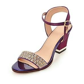 cheap Women's Sandals-Women's Sandals Block Heel Sandals Chunky Heel Open Toe Crystal Silk Ankle Strap Summer Black / Purple / Red / Party & Evening