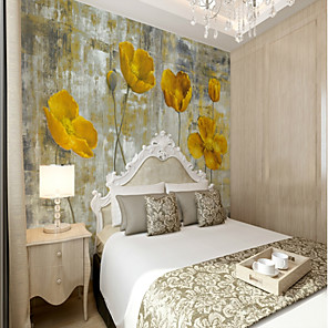 cheap Wallpaper-3D set hand-painted yellow flower large wall covering Mural Wallpaper Fit Bedroom Bedroom Flower