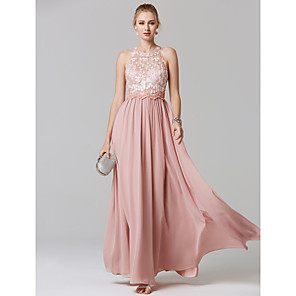 cheap Bridesmaid Dresses-A-Line Elegant Floral Pastel Colors Prom Formal Evening Dress Illusion Neck Sleeveless Floor Length Chiffon Lace with Embroidery 2020