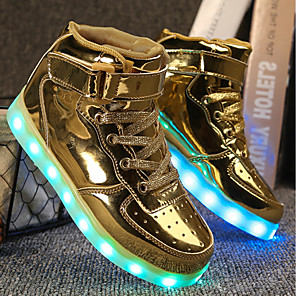 cheap Kids' LED Shoes-Boys' / Girls' LED / Comfort / LED Shoes PU Sneakers Toddler(9m-4ys) / Little Kids(4-7ys) / Big Kids(7years +) Lace-up / Hook & Loop / LED Black / Pink / Gold Fall