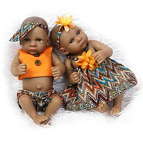 cheap Reborn Doll-NPKCOLLECTION 10 inch Black Dolls NPK DOLL Reborn Doll Girl Doll Baby Girl Newborn lifelike Cute Hand Made Child Safe Full Body Silicone with Clothes and Accessories for Girls' Birthday and Festival