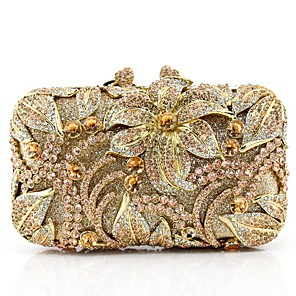 cheap Clutches & Evening Bags-Women's Crystals / Glitter PU / Alloy Evening Bag Solid Color Black / Champagne