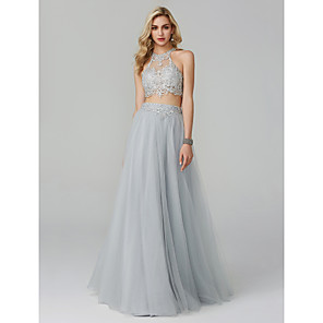 cheap Wedding Wraps-Two Piece Empire Grey Prom Formal Evening Dress Halter Neck Sleeveless Floor Length Lace Tulle with Appliques 2020