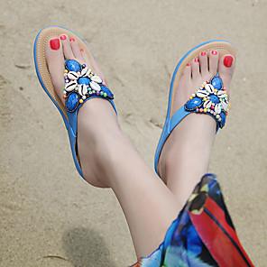 cheap Women's Sandals-Women's Sandals Boho / Beach Wedge Sandals Wedge Heel Round Toe Novelty Office & Career Rhinestone Crystal Color Block Synthetic Microfiber PU Summer Almond / Black / Red