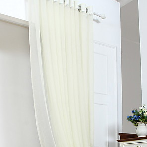cheap Sheer Curtains-Sheer Curtains Shades Bedroom Solid Colored Cotton / Polyester Embroidery