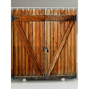 cheap Shower Curtains-Shower Curtains with Hooks Rustic wood door  barn door Polyester Fabric Waterproof shower curtain for Bathroom