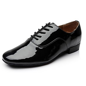 cheap Latin Shoes-Men's Dance Shoes Patent Leather Latin Shoes Heel Thick Heel Customizable Black / Performance / Practice