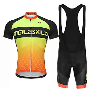 cheap Cycling Jersey & Shorts / Pants Sets-Malciklo Men's Cycling Jersey with Bib Shorts - White / Black Bike Bib Shorts Jersey Quick Dry Anatomic Design Reflective Strips Sports Lycra Gradient Mountain Bike MTB Road Bike Cycling Clothing