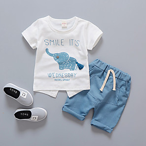 cheap Boys' Clothing Sets-Toddler Boys' Active Daily School Easter Print Print Short Sleeve Regular Clothing Set Blue / Cute