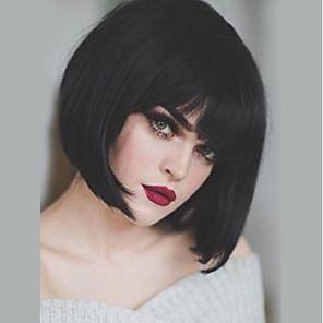 cheap Human Hair Capless Wigs-Human Hair Capless Wigs Human Hair Straight Bob / Short Hairstyles 2019 Natural Hairline Natural Black Machine Made Wig Women's