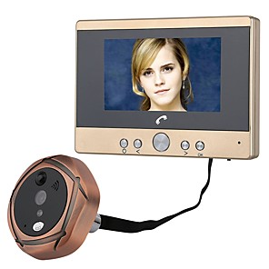 cheap Video Door Phone Systems-MOUNTAINONE Wired Video Doorphone Photographed Recording 4.5inch Hands-free 480*234*3Pixel One to One Peephole Door Viewer PIR Motion Sensor Alarm Hands-free