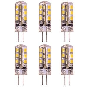 cheap LED Bi-pin Lights-6 pcs 2W G4 LED Bi-pin Bulb 24 SMD 2835 DC 12V for Ceilling Light / RV / Caravan Warm / Cold White