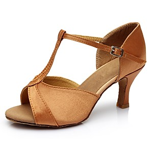 cheap Latin Shoes-Women's Dance Shoes Satin / Leatherette Latin Shoes Splicing Sandal / Heel Customized Heel Customizable Brown / Indoor