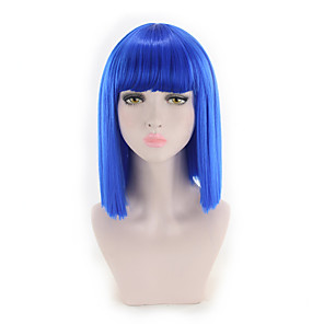 cheap Synthetic Trendy Wigs-Synthetic Wig Straight Bob Wig Short Blue Synthetic Hair Women's Synthetic New Arrival Blue