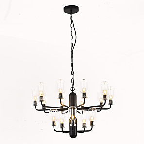 cheap Candle-Style Design-15-Light ZHISHU 64 cm Mini Style Chandelier Metal Glass Candle-style Electroplated / Painted Finishes Nature Inspired / Chic & Modern 110-120V / 220-240V
