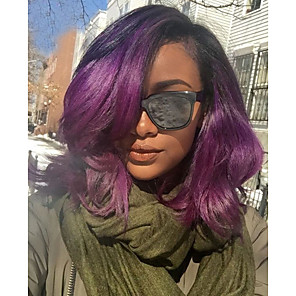 cheap Synthetic Trendy Wigs-Unprocessed Human Hair Lace Front Wig Side Part style Brazilian Hair Wavy Body Wave Purple Wig 130% Density with Baby Hair Ombre Hair Women's Short Medium Length Human Hair Lace Wig Aili Young Hair