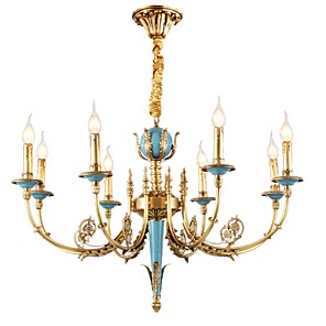 cheap Candle-Style Design-ZHISHU 8-Light 78 cm Crystal / Mini Style Chandelier Metal Candle-style Brass Rustic / Lodge / Traditional / Classic 110-120V / 220-240V