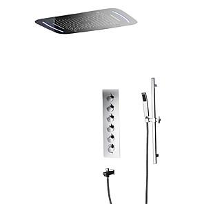 cheap Shower Faucets-Shower Faucet - Contemporary Chrome Wall Mounted Ceramic Valve Bath Shower Mixer Taps / Brass