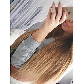 cheap Human Hair Wigs-Unprocessed Human Hair U Part Wig Layered Haircut style Brazilian Hair Straight Blonde Wig 130% Density with Baby Hair Ombre Hair Dark Roots Women's Short Medium Length Long Human Hair Lace Wig Aili