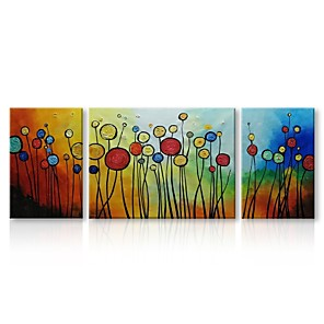 cheap Abstract Paintings-Oil Painting Hand Painted - Abstract Floral / Botanical Comtemporary Traditional Stretched Canvas / Three Panels