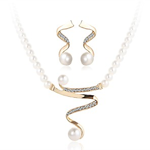 cheap Jewelry Sets-Women's Pearl Jewelry Set Wave Ladies Simple Imitation Pearl Earrings Jewelry Gold For Wedding Ceremony Masquerade Engagement Party Prom Promise