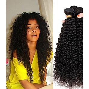 cheap 4 Bundles Human Hair Weaves-4 Bundles Hair Weaves Peruvian Hair Kinky Curly Human Hair Extensions Remy Human Hair 100% Remy Hair Weave Bundles 400 g Natural Color Hair Weaves / Hair Bulk Human Hair Extensions 8-28 inch Natural
