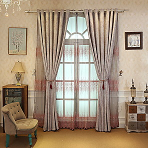 cheap Mosquito Nets-Curtains Drapes Living Room Geometric Cotton / Polyester Printed