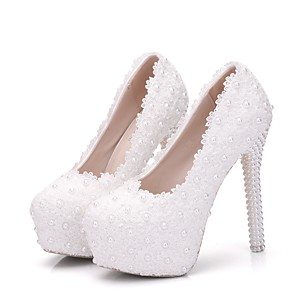cheap Wedding Shoes-Women's Wedding Shoes Glitter Crystal Sequined Jeweled Stiletto Heel Round Toe Pearl / Satin Flower PU Comfort / Novelty Spring / Fall White