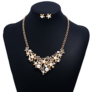 cheap Jewelry Sets-Women's Cubic Zirconia Jewelry Set Floral / Botanicals Flower Ladies Sweet Imitation Pearl Zircon Earrings Jewelry Gold For Party Graduation