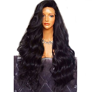 cheap Human Hair Wigs-Virgin Human Hair Full Lace Wig Layered Haircut style Brazilian Hair Wavy Body Wave Black Wig 180% Density with Baby Hair For Black Women Women's Short Medium Length Long Human Hair Lace Wig Aili