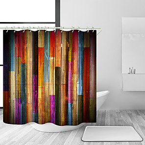 cheap Shower Curtains-Vintage Colorful Wooden Shower Curtains, Grunge Rustic Planks Barn House Wood Art Print, Polyester Fabric Waterproof Farm Shower Curtain, Bathroom Accessory Sets, Hooks Included, 70X70in (70X70in)