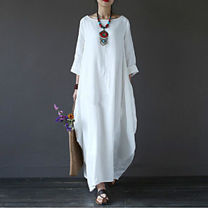 cheap Women's Sandals-Women's Maxi long Dress - 3/4 Length Sleeve White Spring Fall Plus Size Casual Weekend Cotton Oversized White Black Red Green Light Blue L XL XXL 3XL 4XL 5XL