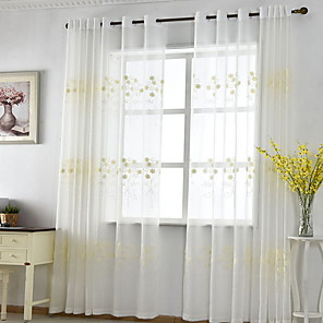 cheap Mosquito Nets-Sheer Curtains Shades Bedroom Geometric Cotton / Polyester Embroidery