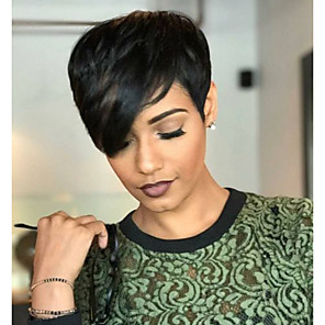 cheap Synthetic Trendy Wigs-Human Hair Blend Wig Wavy Pixie Cut Short Hairstyles 2020 Natural Black Natural Hairline Machine Made Women's Medium Auburn#30 Jet Black #1 8 inch