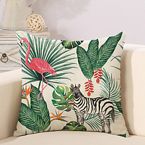 cheap Sale-1 pcs Cotton / Linen Pillow Cover Novelty Pillow Pillow Case, Botanical Flamingo Animal Tropical New Arrival