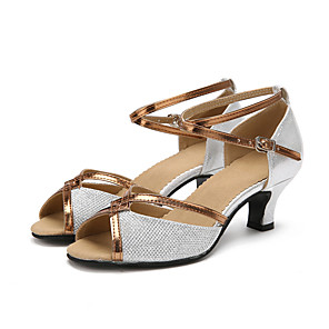 cheap Wedding Shoes-Women's Dance Shoes Sparkling Glitter Latin Shoes Heel Customized Heel Customizable Black / Gold / Silver / Indoor / Leather